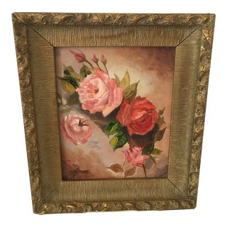 """1970s Vintage Glodowski """"Roses"""" Oil on Canvas Painting For Sale"""