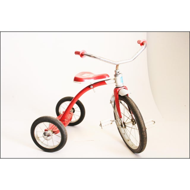 Vintage Red Metal Child's Tricycle For Sale - Image 5 of 11
