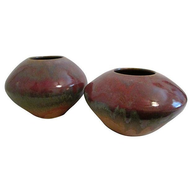 Raku Pottery Vases - Pair - Image 1 of 6