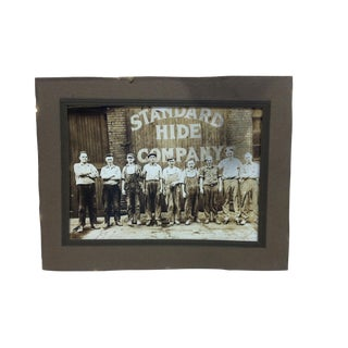 "Early 20th Century Antique ""Standard Hide Company"" Mounted Black & Whited Photograph For Sale"