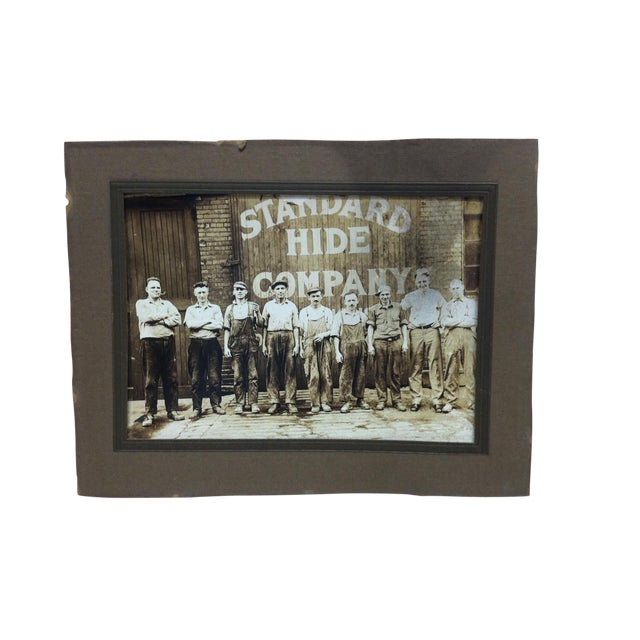 """Early 20th Century Antique """"Standard Hide Company"""" Mounted Black & Whited Photograph For Sale"""