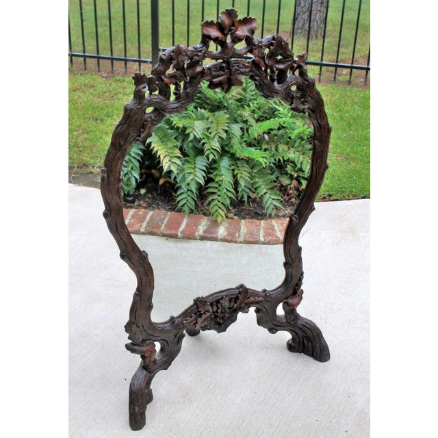 Antique French Oak Black Forest Framed Wall or Easel Standing Mirror Firescreen For Sale In Dallas - Image 6 of 13