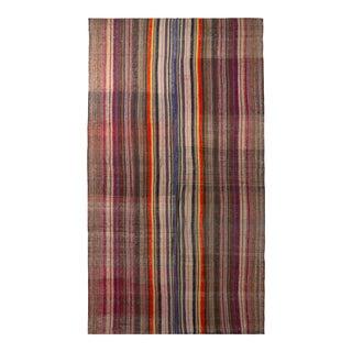 1950s Vintage Mid-Century Kilim Wool Purple Beige Brown Striped Rug For Sale