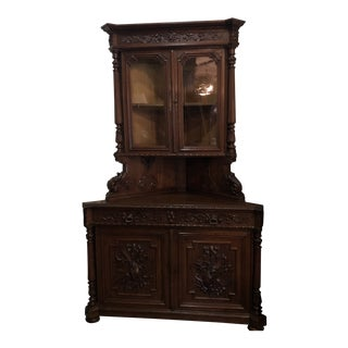 Carved Wood French Hunt Corner Cabinet For Sale