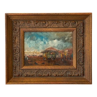 Early 20th Century Asian Cityscape Oil Painting, Framed For Sale