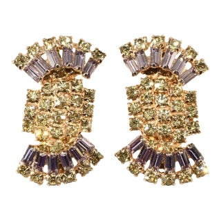 Alice Caviness Lavender and Yellow Rhinestone Earrings Vintage For Sale