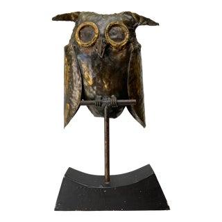 Mid Century Brutalist Metal Owl For Sale