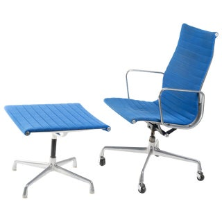 1980s Vintage Herman Miller Aluminum Group Soft Pad Chair and Ottoman For Sale