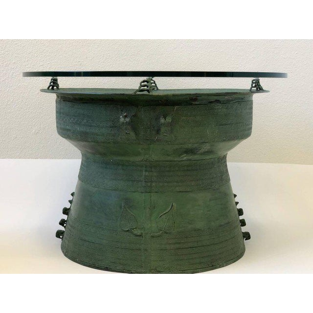 Bronze Pair of Bronze and Glass South Asian Rain Drum Tables For Sale - Image 7 of 11