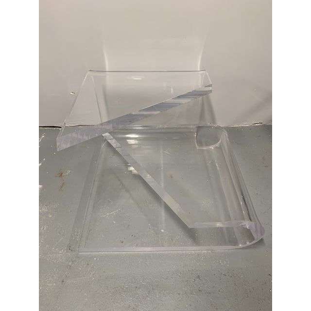 Transparent 1970s Mid-Century Modern Lucite Accent Table by Charles Hollis Jones For Sale - Image 8 of 13