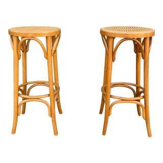 Antique Thonet Style Stools- a Pair For Sale