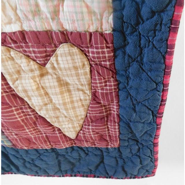 Child's Vintage Patchwork Heart Quilt For Sale - Image 4 of 13