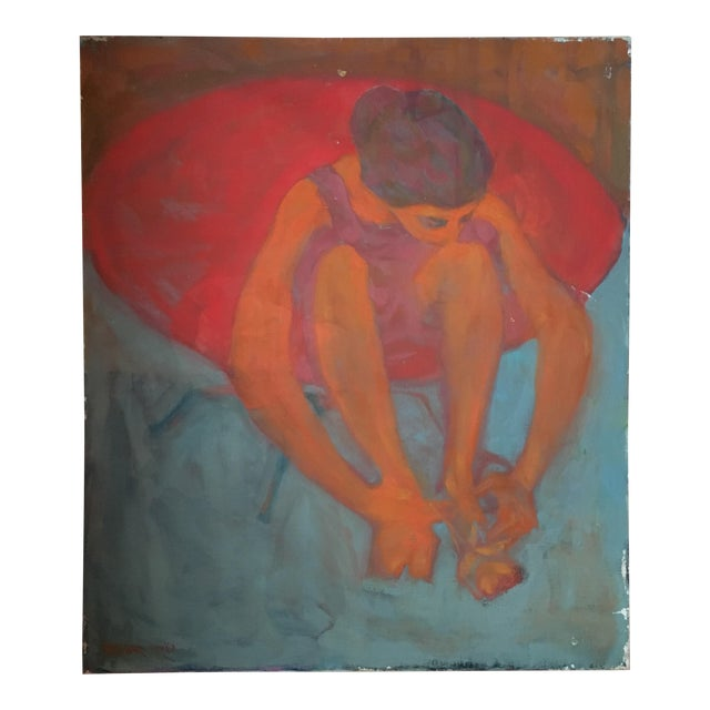 """""""Young Girl in a Red Chair"""" Painting on Canvas For Sale"""