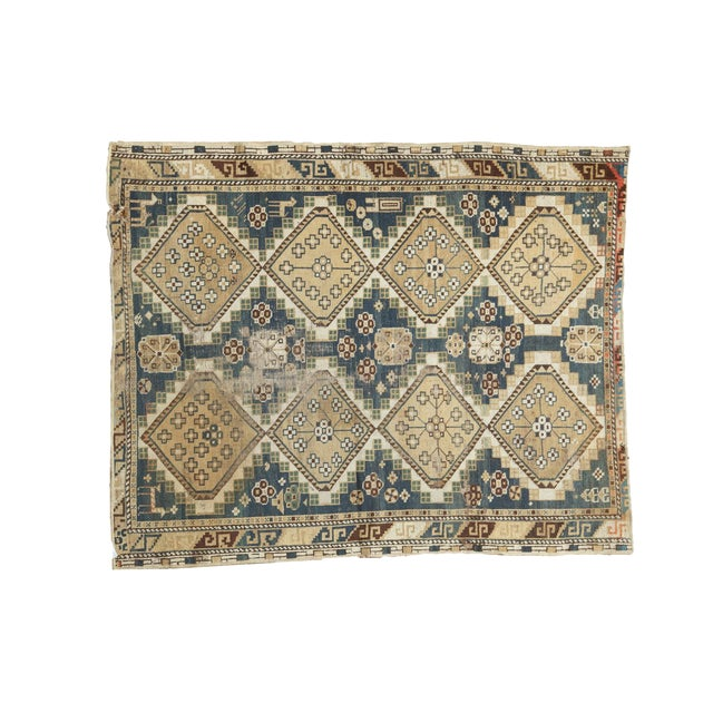 "Vintage Fragmented Caucasian Square Rug - 3'9"" x 4'8"" - Image 1 of 7"