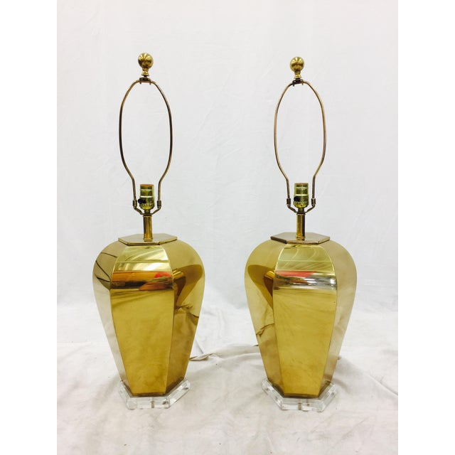 Vintage Brass & Lucite Base Lamps - Image 3 of 10