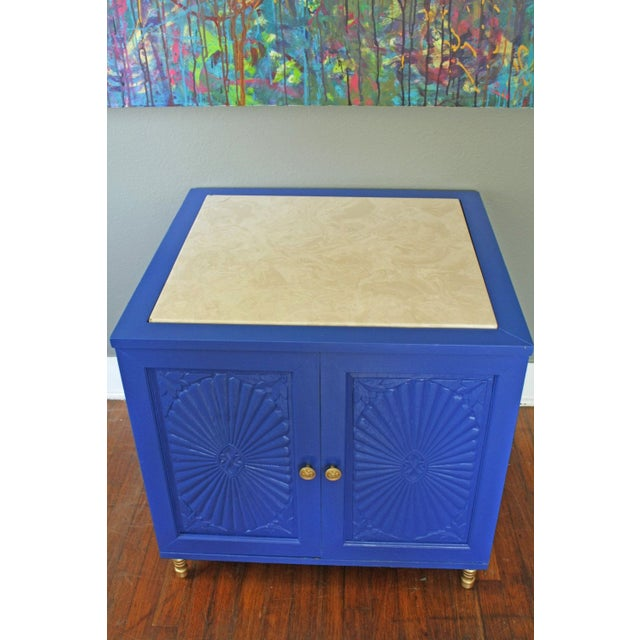 Hollywood Regency Style Blue Cabinet For Sale - Image 4 of 5
