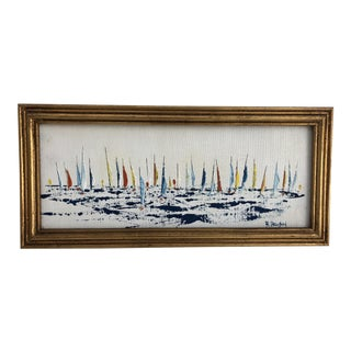 1970s Vintage Nautical Sailboat Oil Painting For Sale