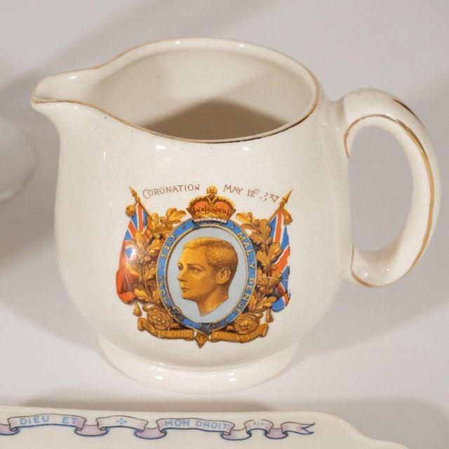 English Art Deco Royal Commemorative Porcelain Coronation Set For Sale - Image 9 of 13
