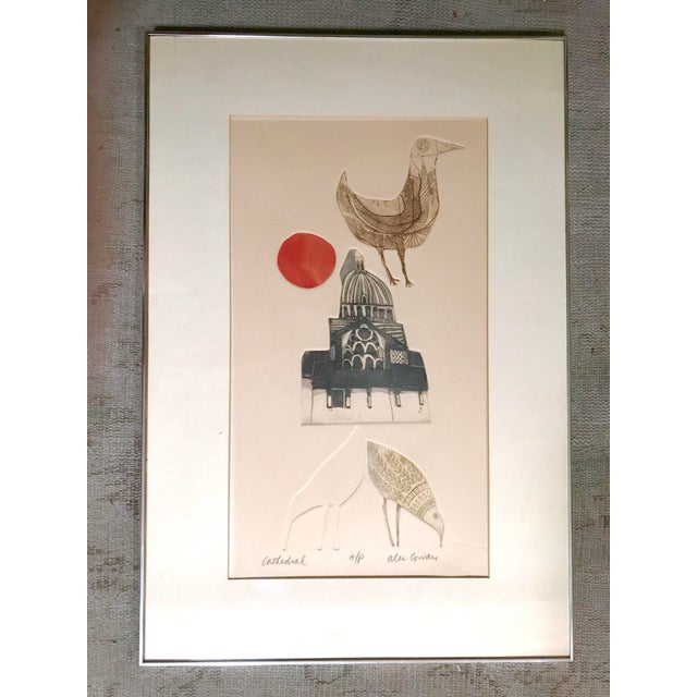 Vintage 1960s block print by Alec Cowan, listed artist. The print is titled 'Cathedral' and is an artist's proof. It...