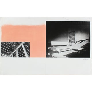 Calvin Anderson Mid 20th Century Gouache and Collage on Paper With Pink and Black & White Photos Mid 20th Century For Sale