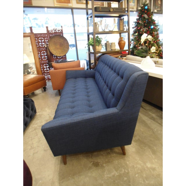 Mid-Century Modern Dark Blue Tufted Cleveland Sofa by Thrive Furnitures For Sale - Image 3 of 6