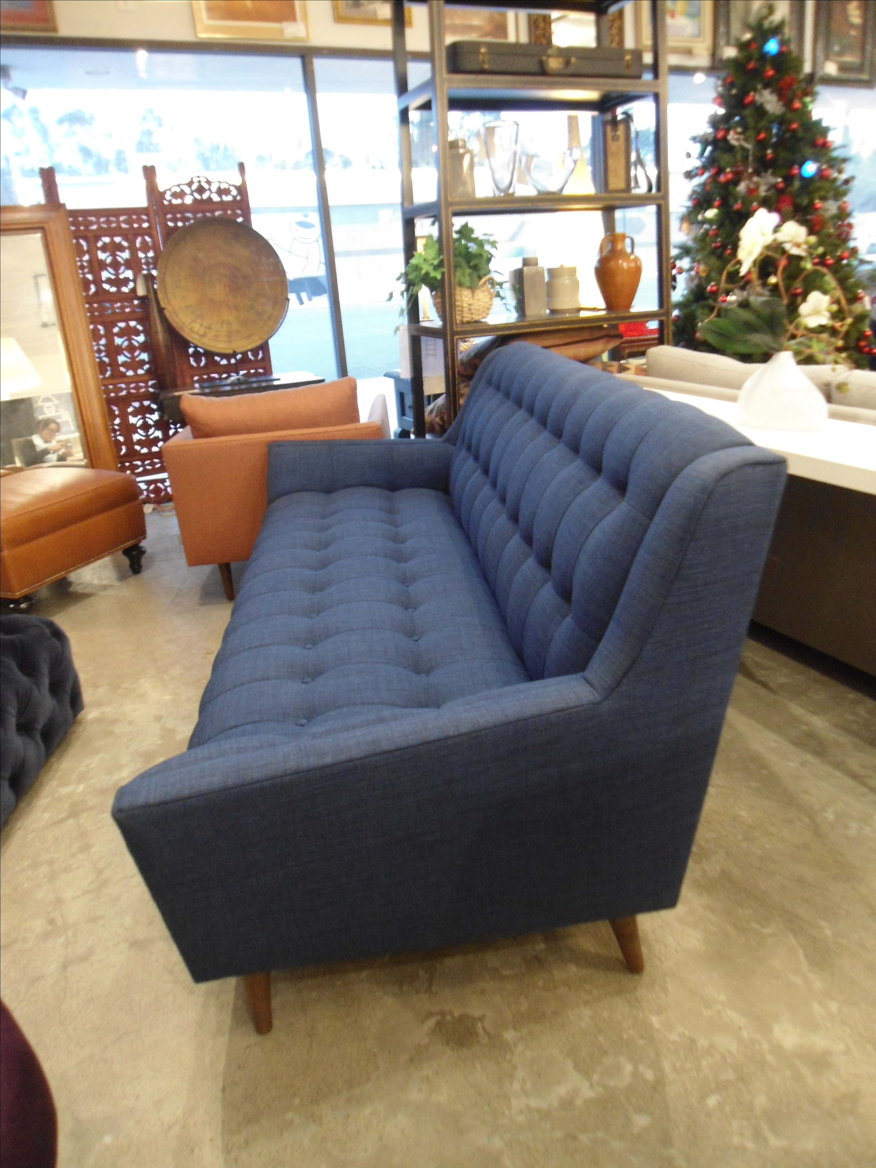 Mid Century Modern Dark Blue Tufted Cleveland Sofa By Thrive Furnitures For  Sale   Image