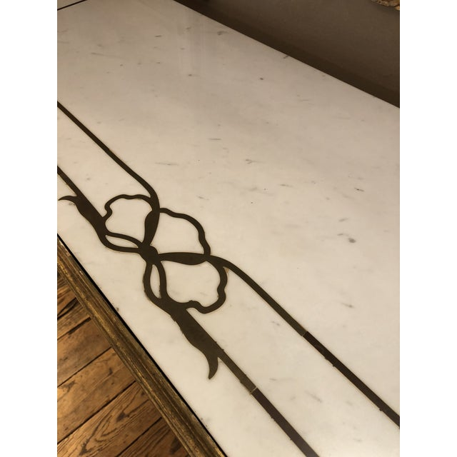 Antique Gilded Painted Italian Regency Console Table With Marble Top For Sale - Image 4 of 11