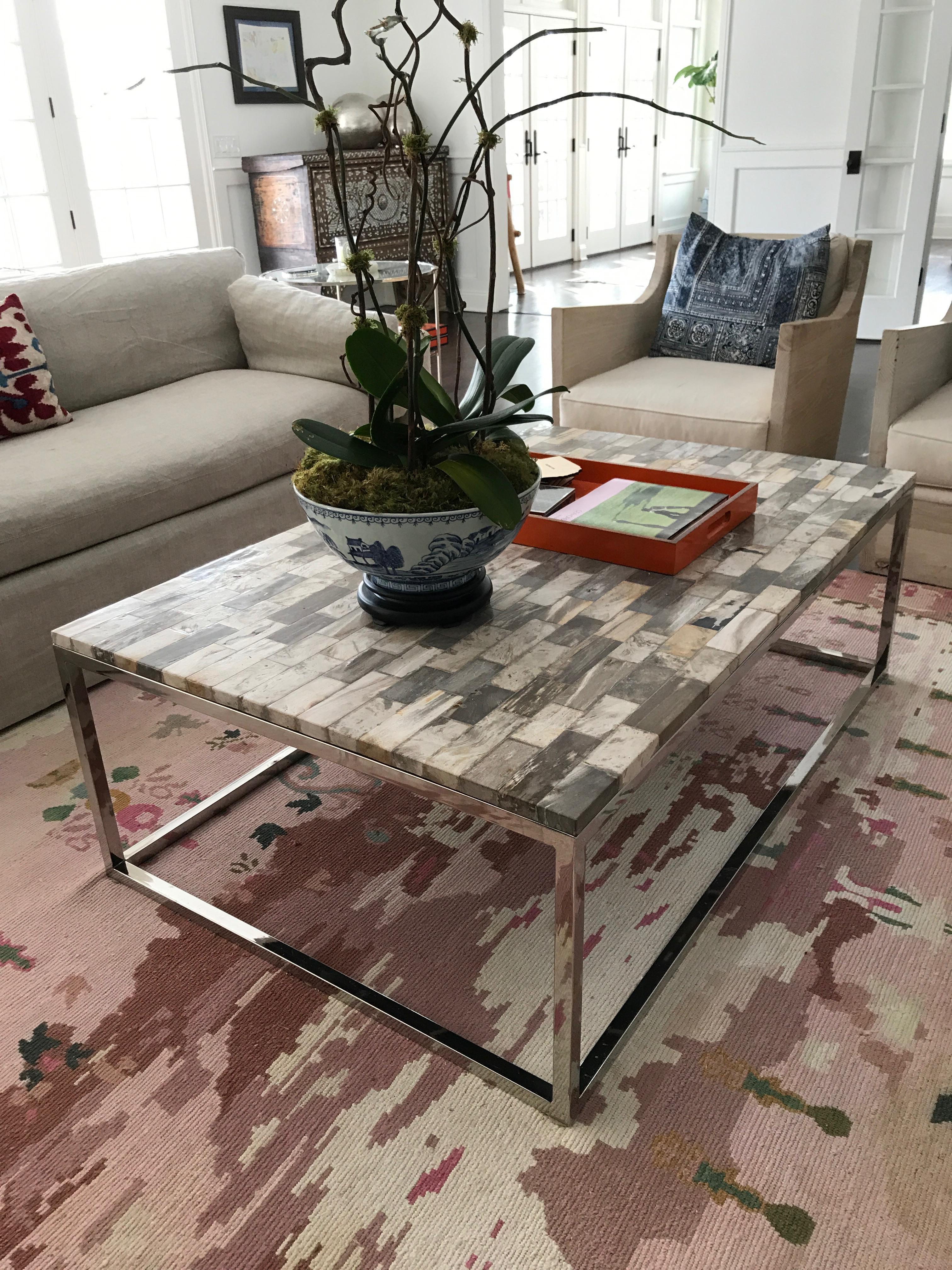 Palecek Mosaic Industrial Petrified Wood Rectangular Coffee Table