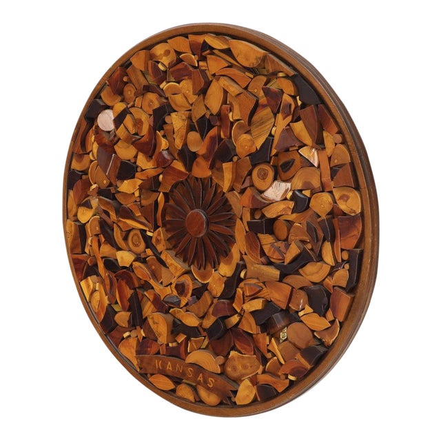 Round Wooden Wall Plaque Sculpture Sunburst For Sale