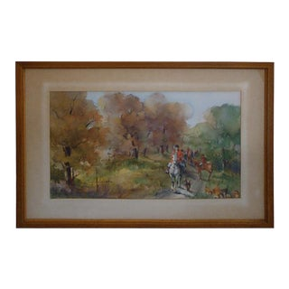 Large Equestrian Fox Hunting Watercolor For Sale