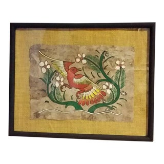 1960s Mexican Folk Art Framed Amate Bark Painting For Sale