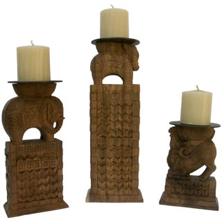 Carved Wood Animal Candleholders - Set of 3 For Sale