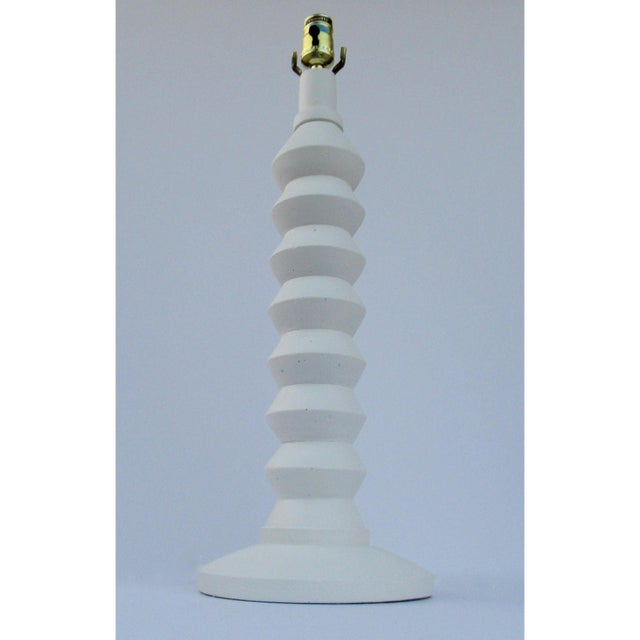 Boho Chic Vintage Mid-Century Modern Plaster Zig-Zag Tiered Lamp For Sale - Image 3 of 13