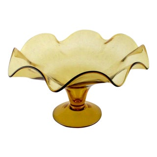 Vintage Amber Glass Footed Fruit Stand or Console Bowl For Sale