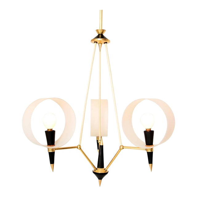 Mid-Century Modern Italian Chandelier With Three Arms For Sale