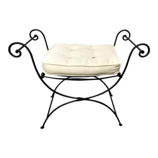 Modern Vanity Iron and Fabric Vanity Chair Stool For Sale