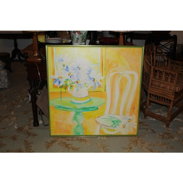 Modern Vintage Mid-Century Yellow Still Life Painting For Sale - Image 3 of 12