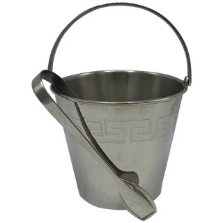 1970s Chrome Ice Bucket and Tongs With Greek Key Motif For Sale