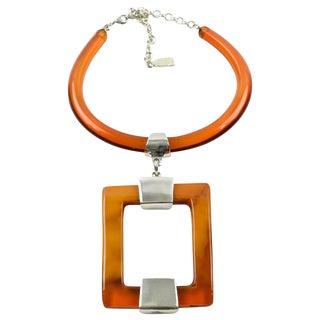 Dominique Denaive Paris Signed Orange Resin Modernist Sculptural Necklace For Sale