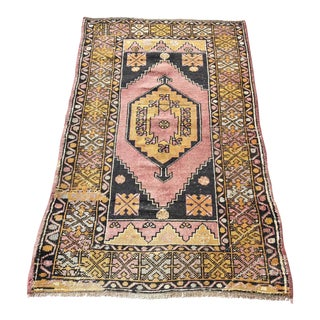 Distressed Vintage Floral Turkish Rug - 2′11″ × 4′11″ For Sale