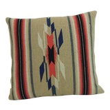 Image of Vintage Square Southwestern Style Woven Wool Decorative Pillow For Sale
