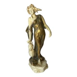 Circa 1900s Theodore Schoop Art Nouveau Woman Statue For Sale