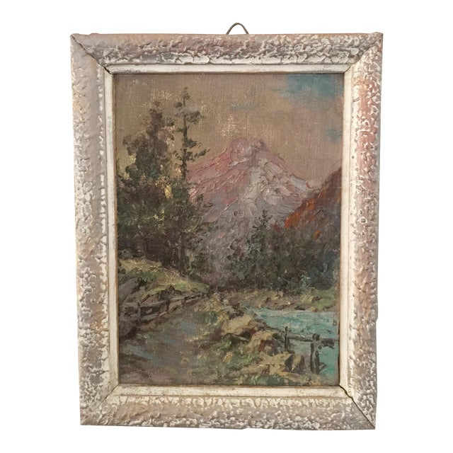 1950s Vintage Mountain Scene Small French Oil Painting For Sale