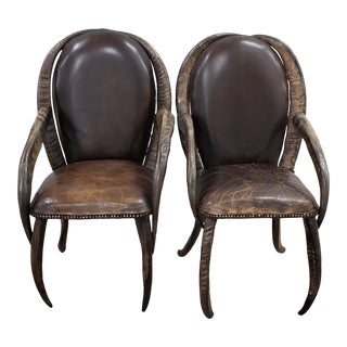 Pair of Mid 20th Century Water Buffalo Horn and Leather Arm Chairs For Sale