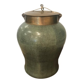 Tozai Home Jade Shagreen Temple Jar With Bronze Lid For Sale