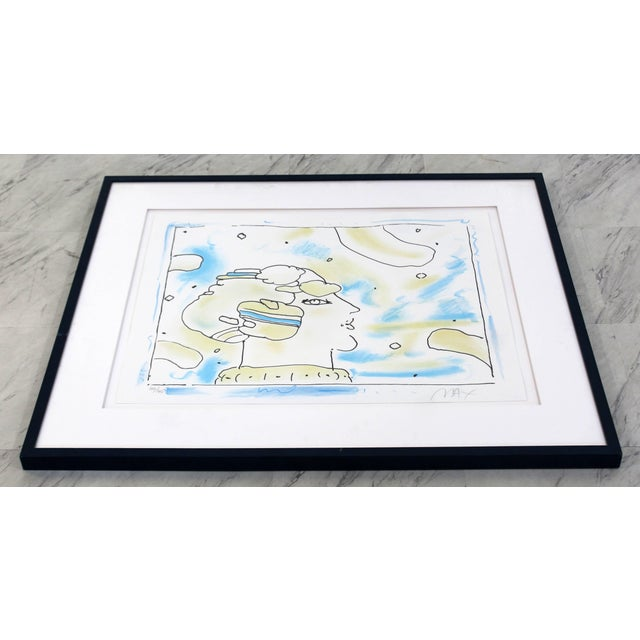 Mid-Century Modern Mid-Century Modern Framed Print by Peter Max Cosmic Face Signed Numbered For Sale - Image 3 of 8