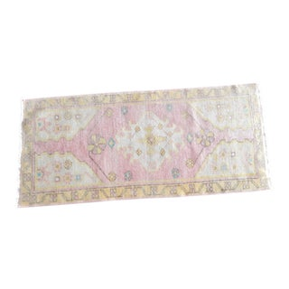 Distressed Low Pile Yastik Rug Faded Mat 1′8″ × 3′8″ For Sale