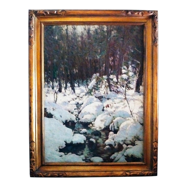 """American Impressionist Painting """"The Woodland Brook"""" by Luther Emerson Van Gorder (1857-1931) For Sale"""