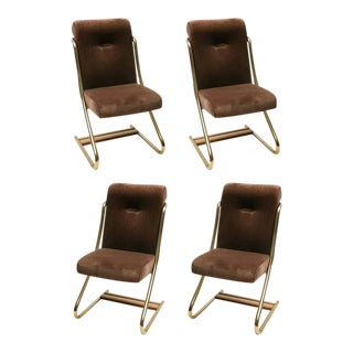 Set of Four Brass Upholstered Dining Chairs by Daystrom, Usa, 1970 For Sale