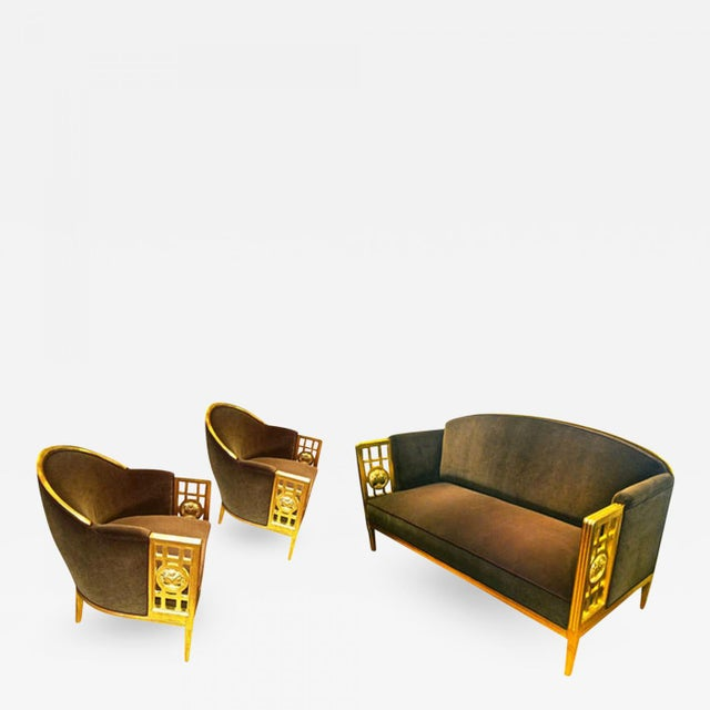 Art Deco Paul Follot Exceptional Three-Piece Set in Gold Leaf Carved Wood For Sale - Image 3 of 3